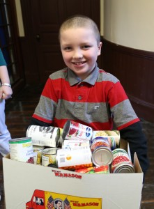 Jordan can't believe all the cans we collected!